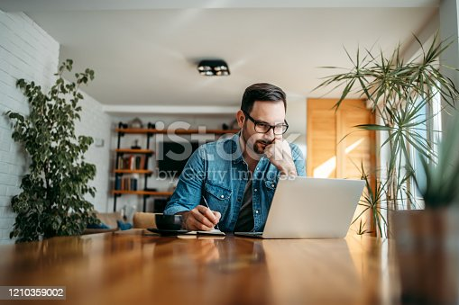 Serious man looking at laptop and taking notes in notebook, portrait.