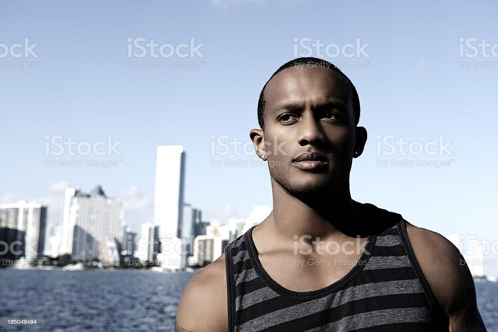 Serious Man Outside the City royalty-free stock photo