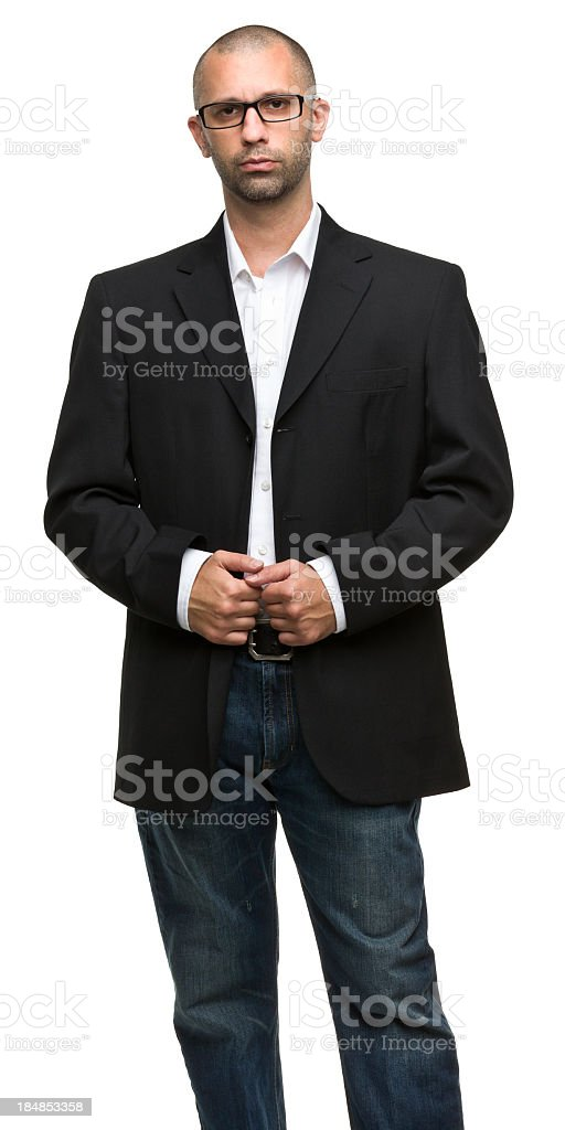 Serious Man Posing Three Quarter Length Portrait royalty-free stock photo