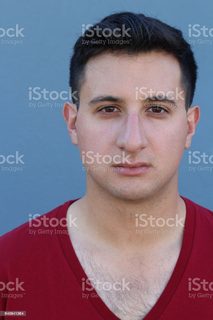 Serious man with a big nose stock photo