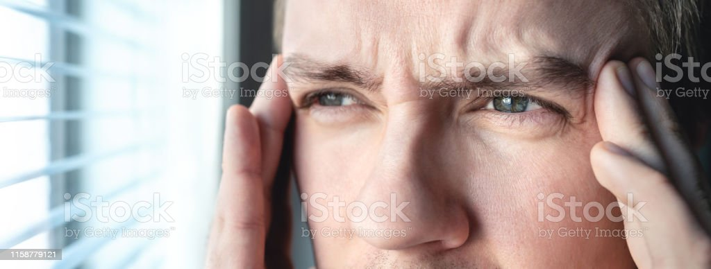 Serious man with stress. Ashamed or depressed person. Burnout,...