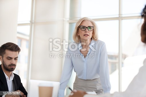 istock Serious mature businesswoman talk having discussion during briefing 1070375282