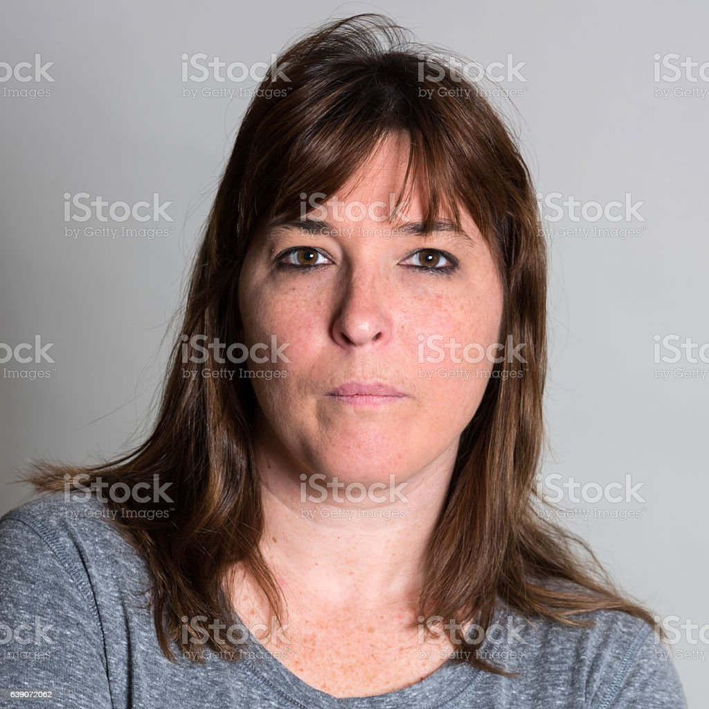Serious mature woman stock photo