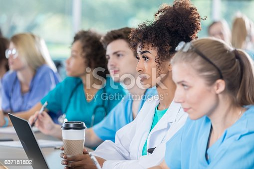 istock Serious medical students in class 637181802