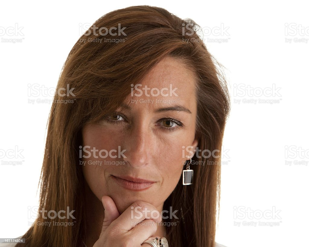 Serious Mid Adult Woman Considering royalty-free stock photo