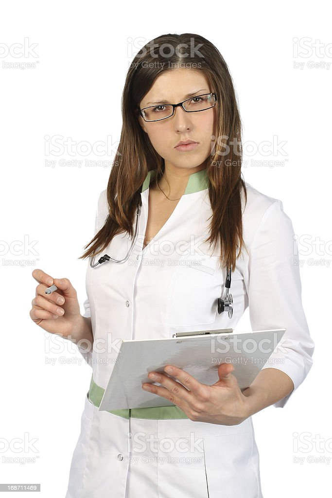 Serious nurse in glasses royalty-free stock photo