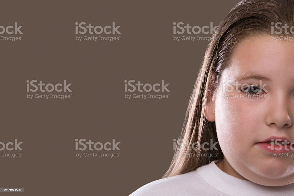 Serious Overweight Pensive Girl stock photo