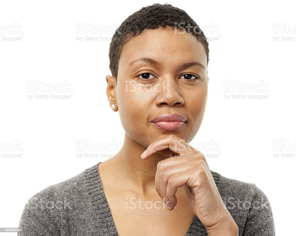 Serious Pensive Young Woman Looking At Camera stock photo