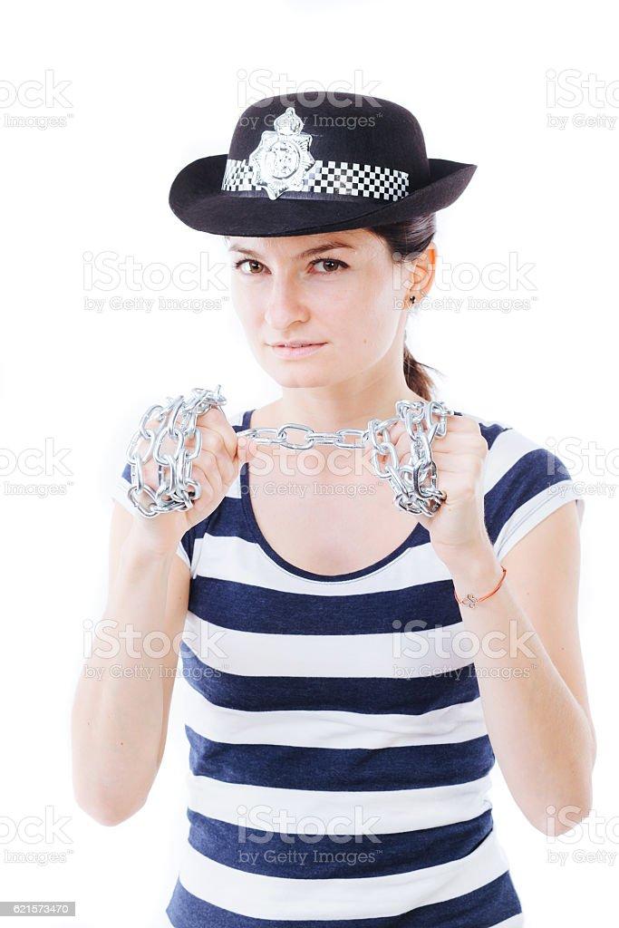 Serious policewoman stock photo