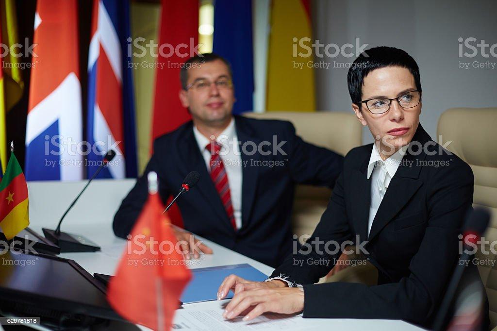 Serious politician stock photo