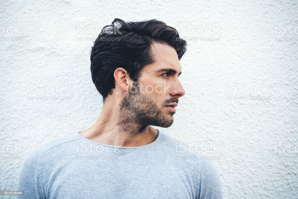 Serious Portrait Of A Young Man From Spain stock photo