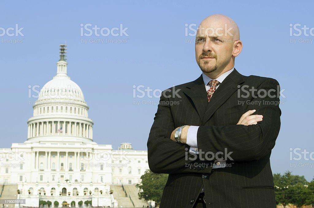 Serious Powerful Caucasian Businessman, Suit, Standing, US Capitol,  Washington DC stock photo
