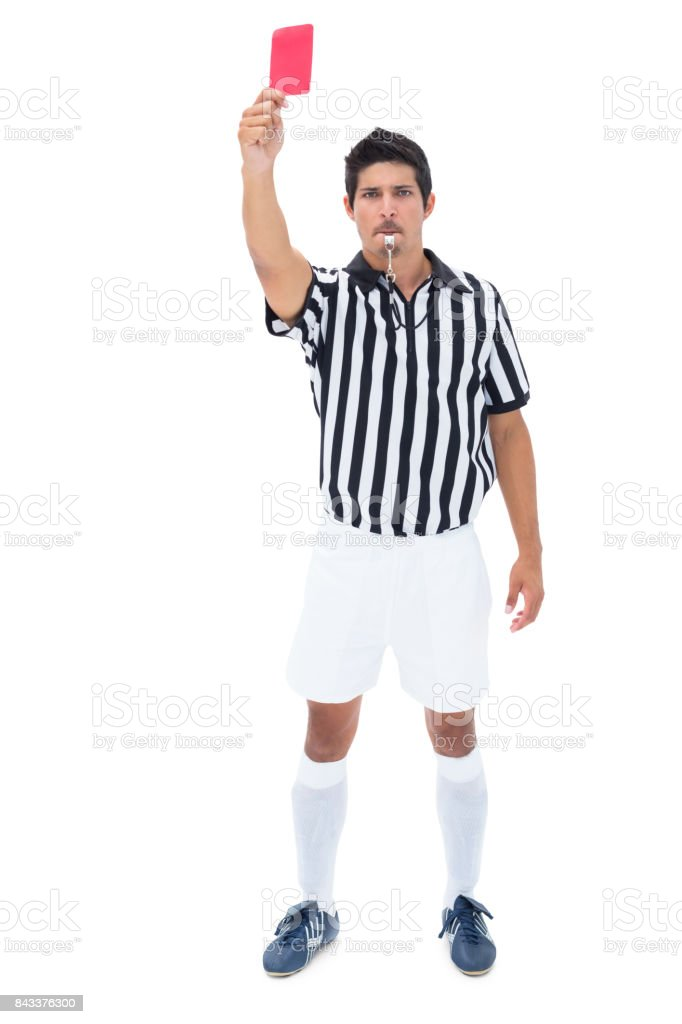 Juiz sério, mostrando o cartão vermelho - foto de acervo