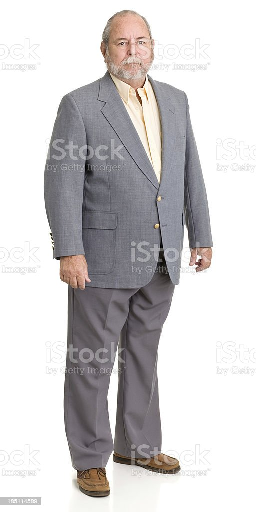 Serious Senior Man In Gray Suit royalty-free stock photo