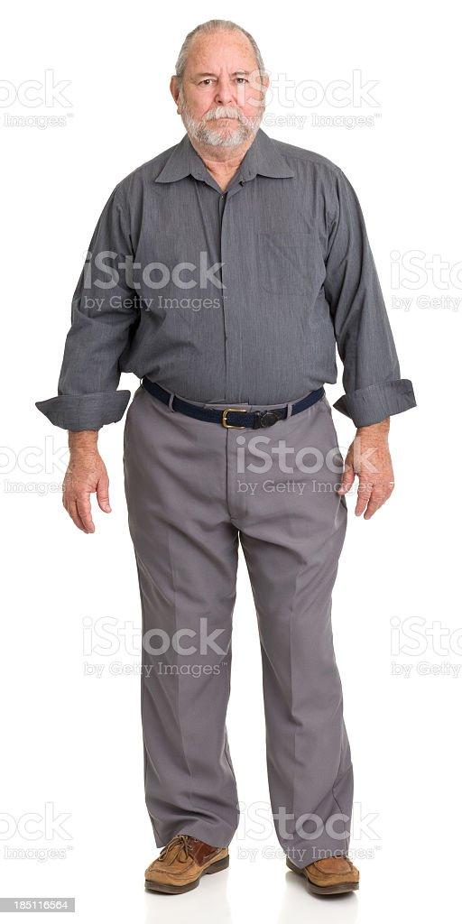 Serious Senior Man Standing stock photo