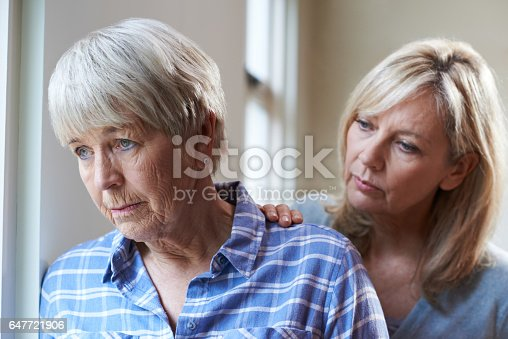 istock Serious Senior Woman With Adult Daughter At Home 647721906