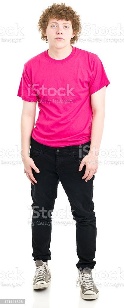 Serious Teenage Boy Standing stock photo