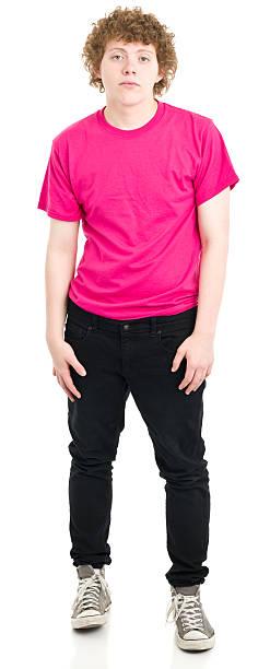 schwere teenager junge stehend - geek t shirts stock-fotos und bilder