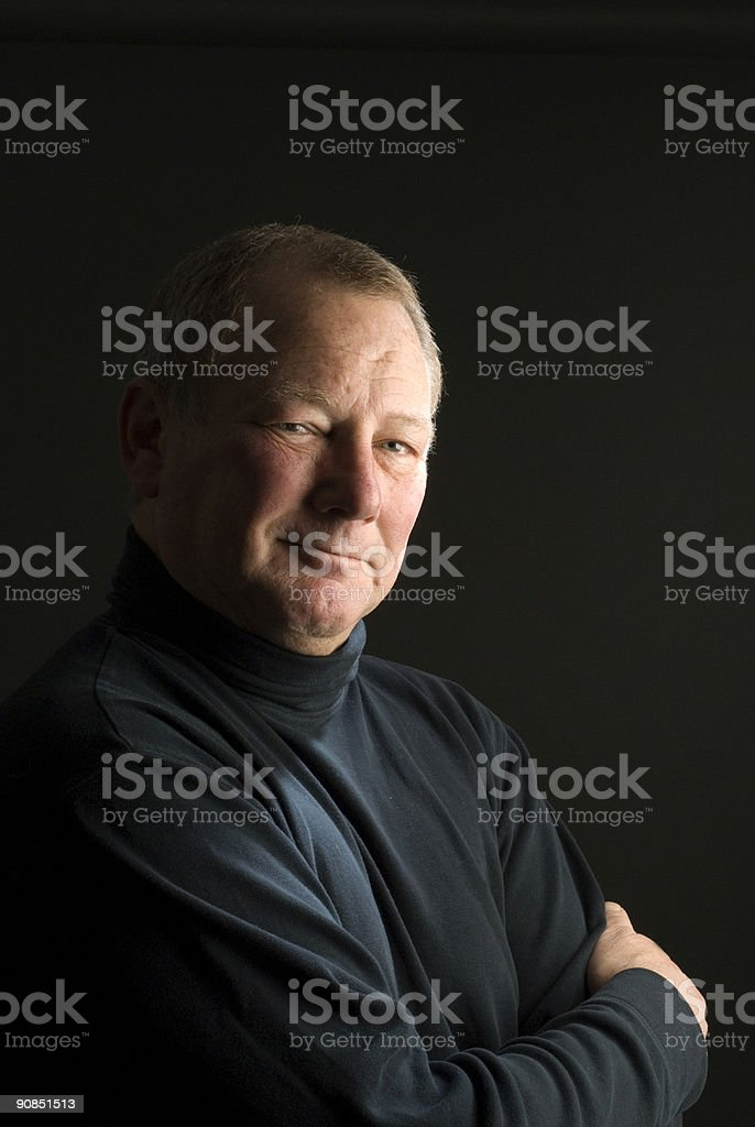 serious thinking man senior business executive stock photo
