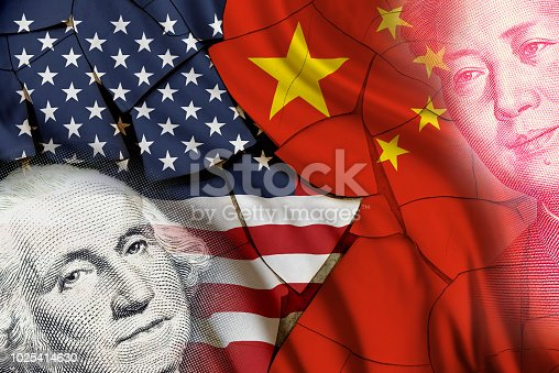 istock Serious trade tension or trade war between US and China, financial concept : Flags of USA and China with faces of Gorge Washington and Mao Zedong, depicts trade deficit between Washington and Beijing. 1025414630