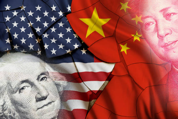 Serious trade tension or trade war between US and China, financial concept : Flags of USA and China with faces of Gorge Washington and Mao Zedong, depicts trade deficit between Washington and Beijing. Serious trade tension or trade war between US and China, financial concept : Flags of USA and China with faces of Gorge Washington and Mao Zedong, depicts trade deficit between Washington and Beijing. trade war stock pictures, royalty-free photos & images