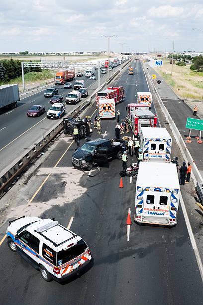 Serious Traffic Collision, Highway 401, Toronto stock photo