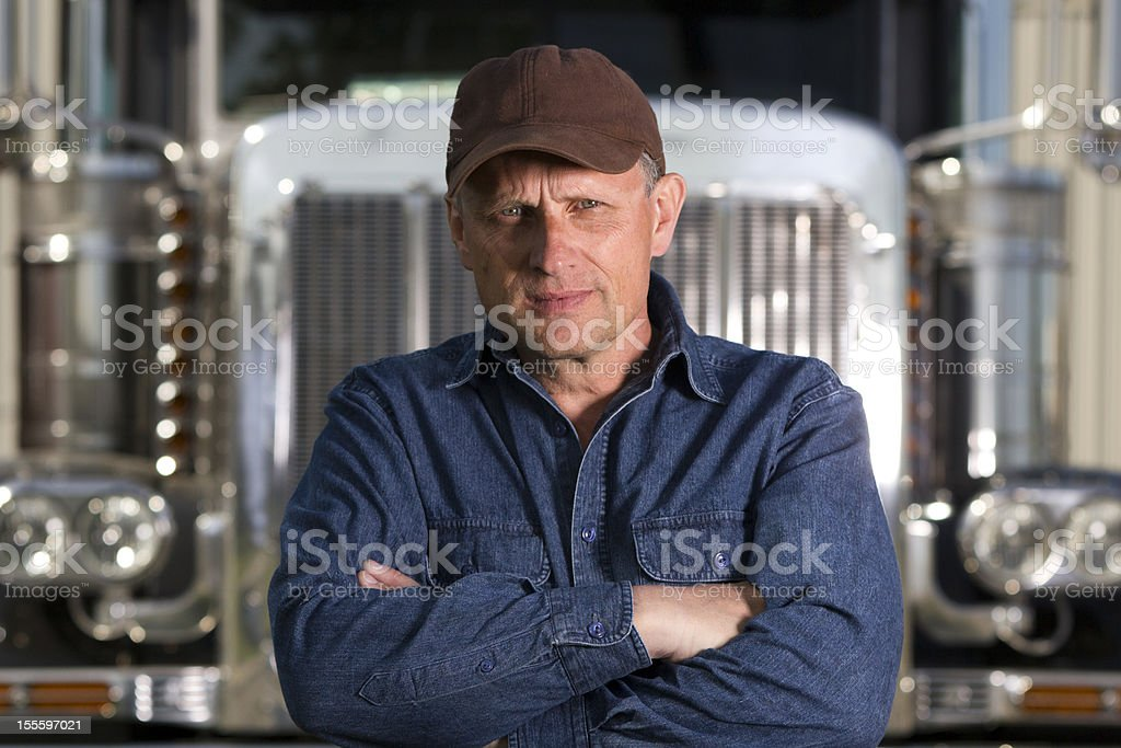 Serious Truck Driver royalty-free stock photo