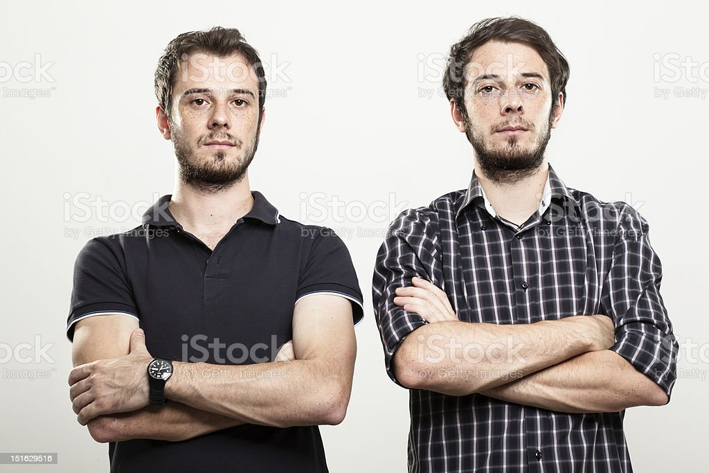 Serious Twins stock photo