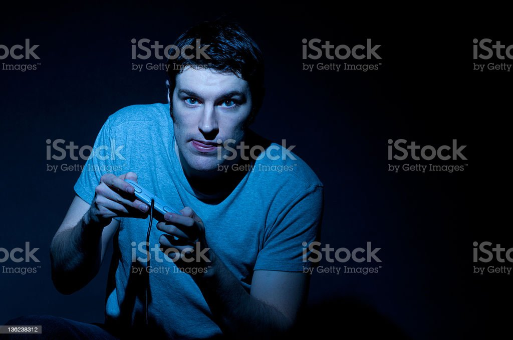 Serious Video Gamer royalty-free stock photo
