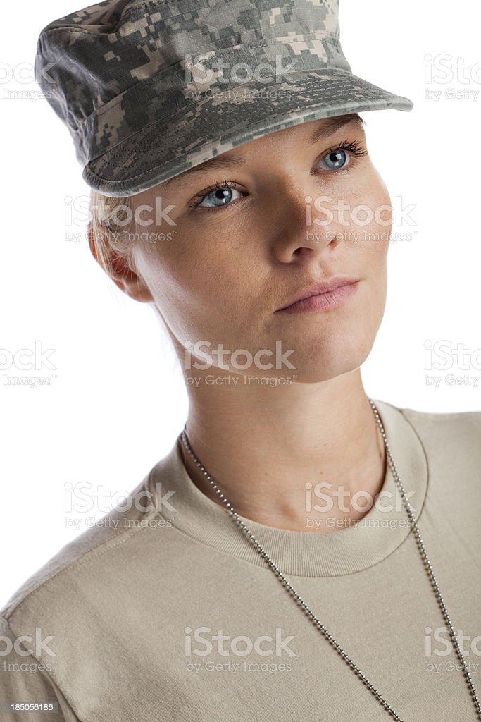 serious woman soldier royalty-free stock photo