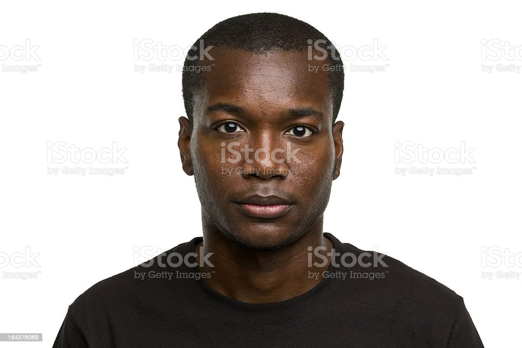 Serious Young Man Blank Expression Mug Shot Portrait stock photo