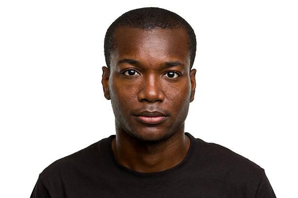 Serious Young Man Blank Expression Mug Shot Portrait stock photo