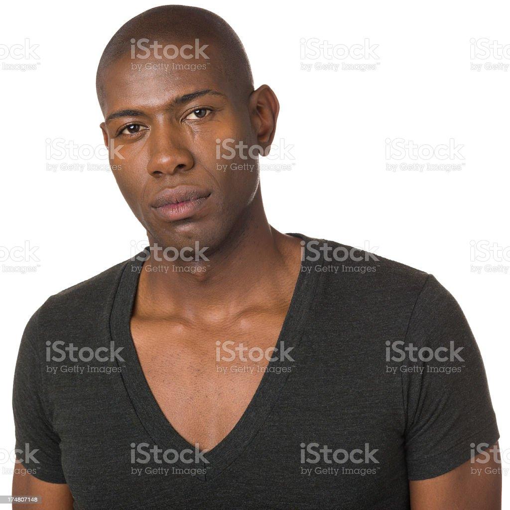 Serious Young Man Looking At Camera royalty-free stock photo