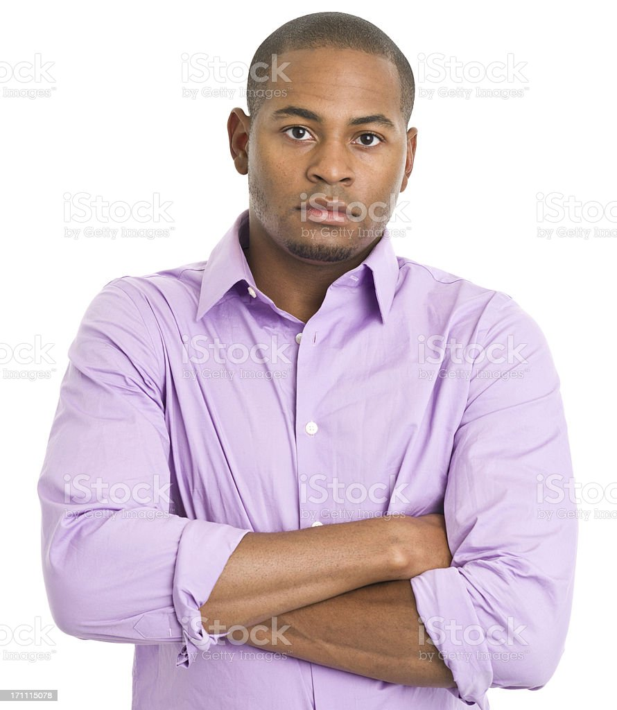 Serious Young Man With Arms Crossed royalty-free stock photo