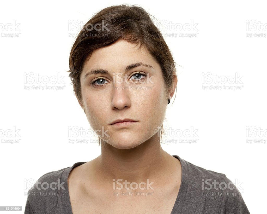 Serious Young Woman Blank Expression Mug Shot Portrait stock photo
