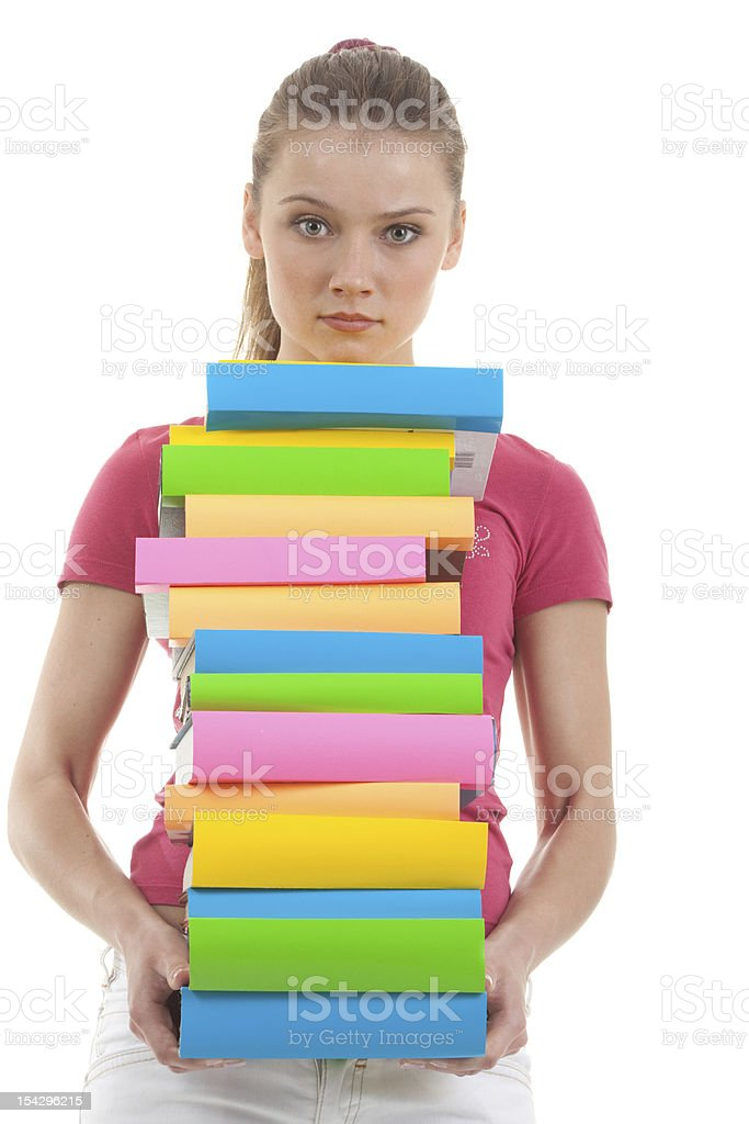 Serious Young Woman Holding Books. royalty-free stock photo