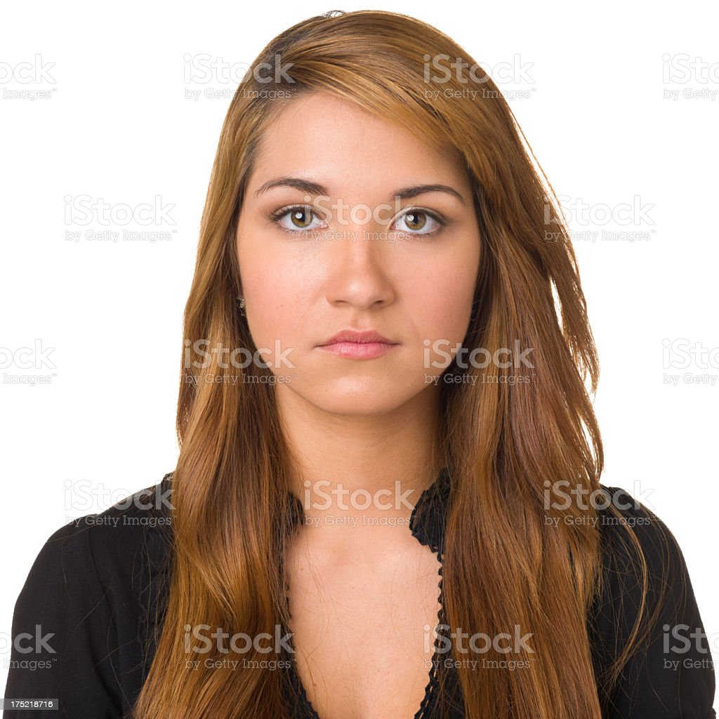 Serious Young Woman Mug Shot Portrait stock photo