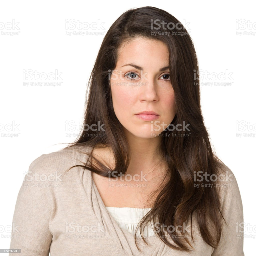 Serious Young Woman Staring At Camera stock photo