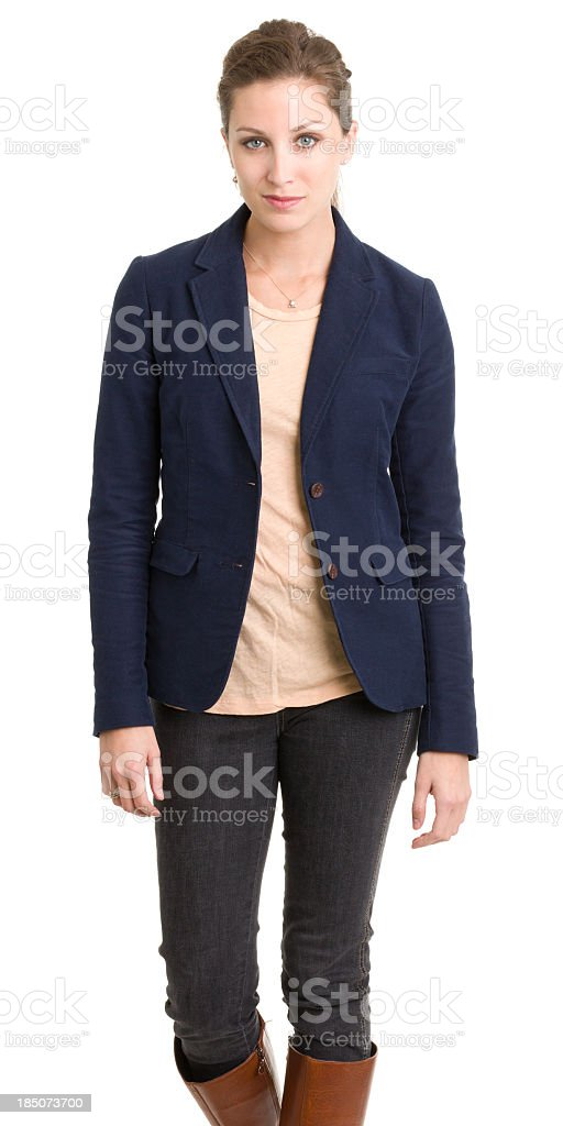 Serious Young Woman Three Quarter Portrait royalty-free stock photo