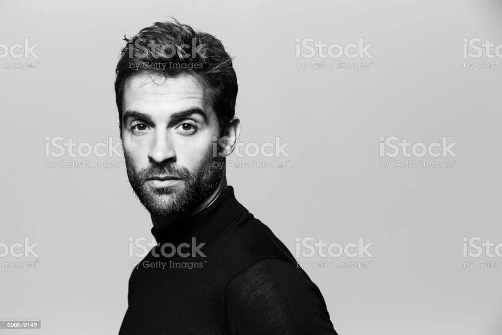 Seriously handsome stock photo