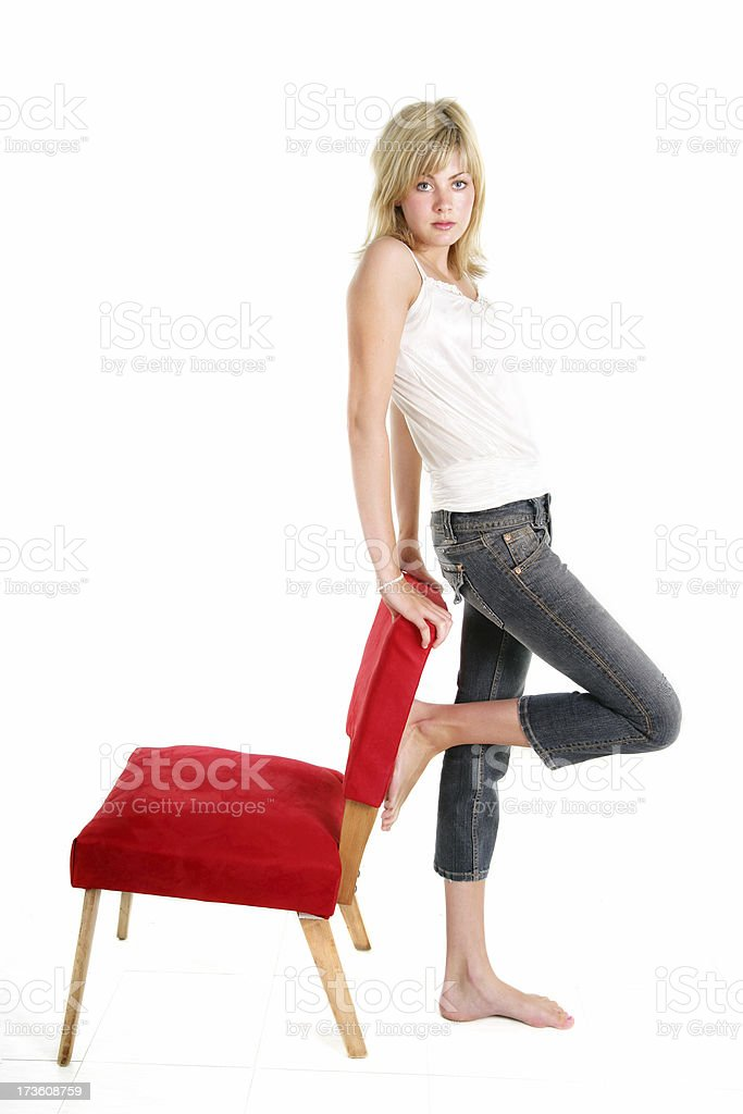 Seriously standing stock photo
