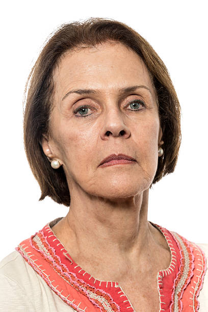 SeriousSenior woman stock photo