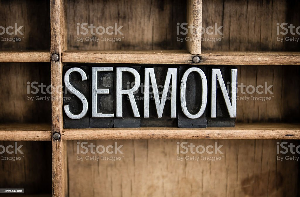 Sermon Concept Metal Letterpress Word in Drawer stock photo