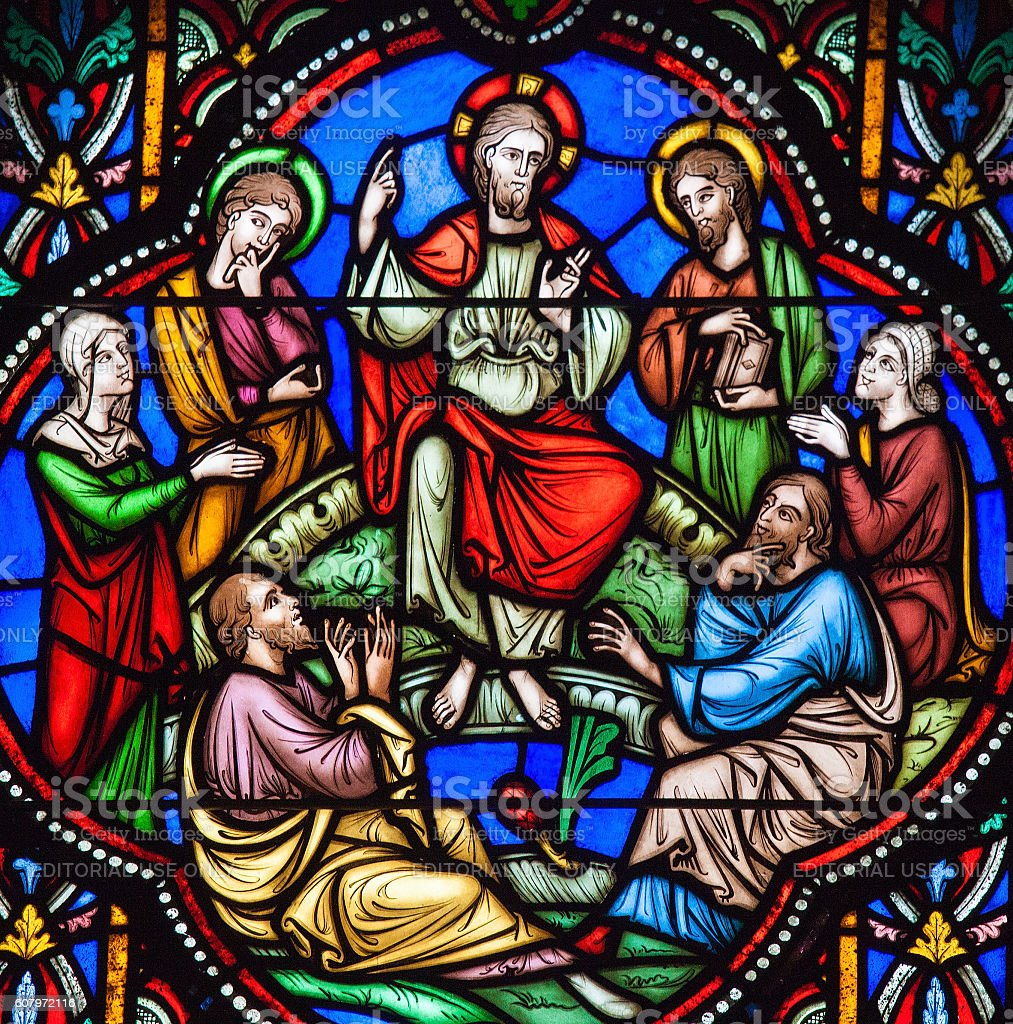 Sermon on the Mount Stained Glass stock photo