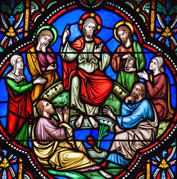 sermon on the mount stained glass - pregador - fotografias e filmes do acervo