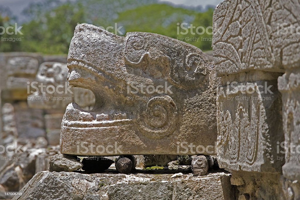 Serpent carving at Chichen Itza royalty-free stock photo