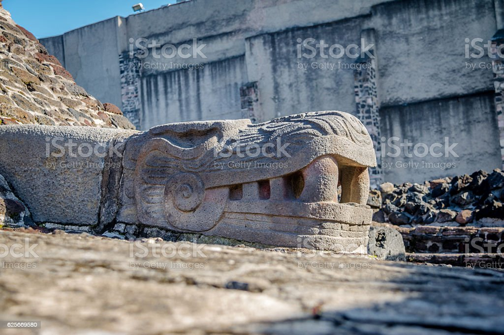 Serpent Sculpture Head in Aztec Temple - Mexico City, Mexico stock photo