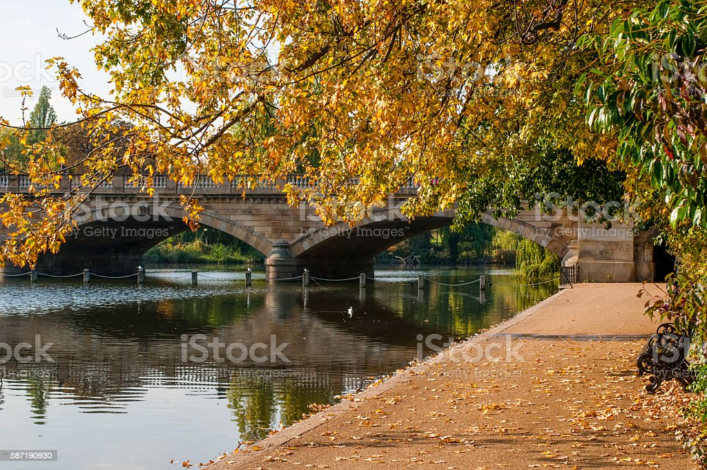 Serpentine bridge, Hyde Park, London, England, UK stock photo