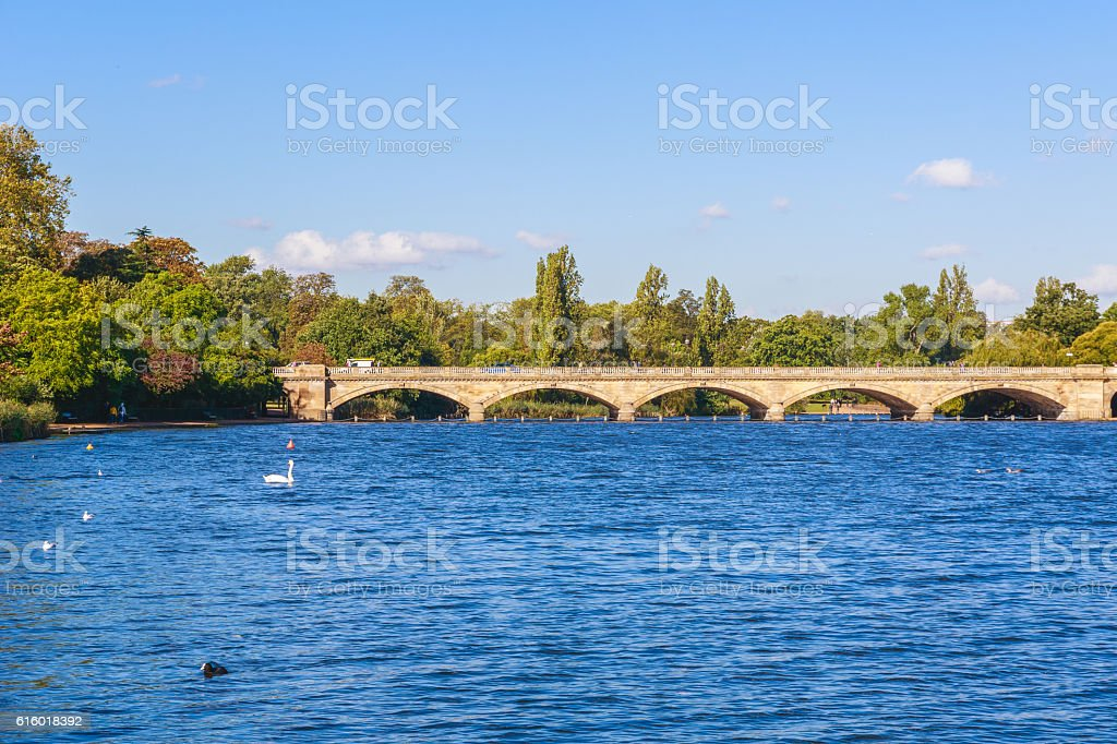 Serpentine Bridge in Hyde Park stock photo