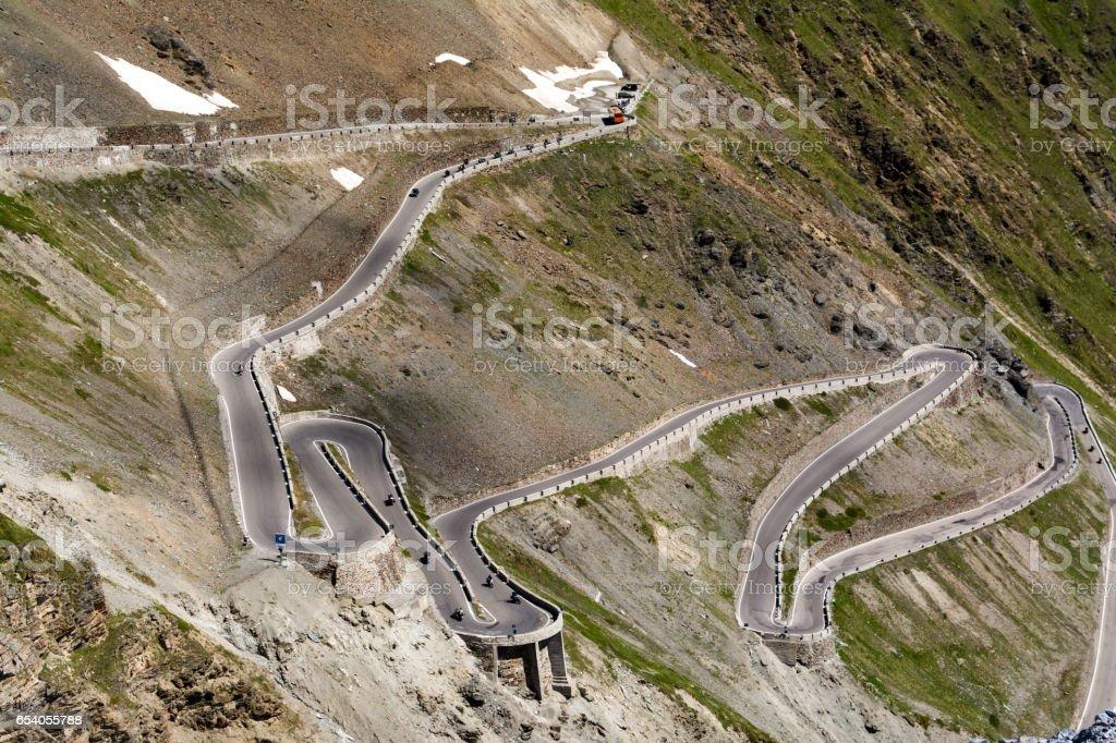Serpentine mountain road stock photo